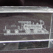 SALE PENDING Vintage Glass Paperweight with Locomotive Etched in Interior of Glass