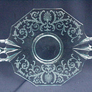 Pale Blue Etched Glass Sandwich Tray