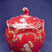 French Majolica Biscuit Barrel, Turquoise Interior, Magenta Exterior, Gold Scrolling and Floral Accents