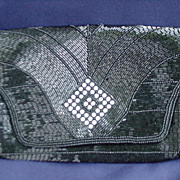 Elegant Walborg Black Beaded Evening Bag, Made in Japan