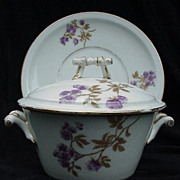 SALE Charles Field Haviland Covered Sauce with Underplate, Twig Handles, Finial on Lid