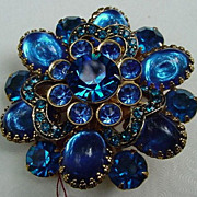 SALE Vintage Costume Blue Stone Pin, Cabs and Faceted Stones