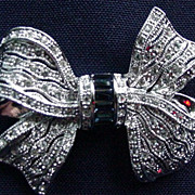 Vintage Bow Pin with Pave Rhinestones and Emerald Cut Sapphires in Center