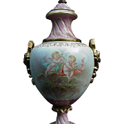 Fabulous 19th C. French Porcelain Hand-Painted Lamp, Artist Signed, Cherubs