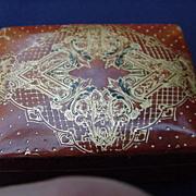 Italian Vintage Leather Box with Tooled Lid