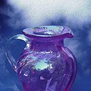Hand-Blown Cranberry Glass Pitcher, Applied Clear Handle