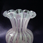 Latticino Glass Vase for Short-Stemmed Flowers