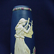 SALE Weller, Blue Ware Vase, Maiden Playing an Instrument
