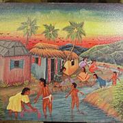 Oil on Canvas, Caribbean Scene, Artist Signed on Reverse, Lucken