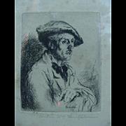 SALE Arthur William Heintzelman Etching, 1925, Pontilliac, France, Study of An Artist