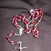 Vintage Rosary with Red Glass Beads and Cross, Italy