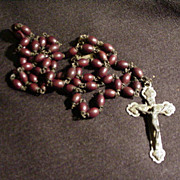 Rosary with Brown Beads and Silver Tone Metal Cross, Italy