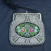 SALE Beaded Bag with Geometrics and Central Floral Panel, Fancy Beaded Fringe