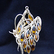 Butterfly Pendant, Amber Colored Tremblers on Wings and Tail