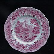 Meakin English Ironstone Dinner Plate, Romantic England Red, Haddon Hall