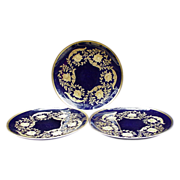 SALE Three Rosenthal Cobalt and Gold Decorative Plates, Germany