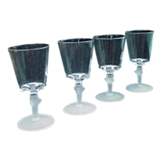 Four EAPG Water Goblets with Lion's Head Stems