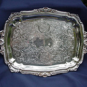 Vintage, Poole, Footed,  Silverplated Serving Tray, England