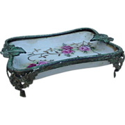 Floral Porcelain Tray with Metal Mounts
