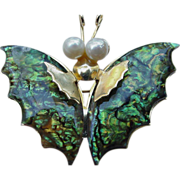 Vintage Gold Tone Metal & Abalone Shell Butterfly Pin
