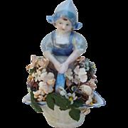 Vintage Porcelain Dutch Girl with Flower Basket