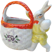 Porcelain Easter Bunny with Basket, Made in Japan