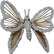 Monet Butterfly Pin, Gold Tone Metal, White Accents