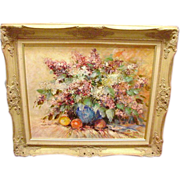 Vintage Oil Painting of Flowers, Signed