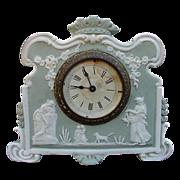 SALE Elegant Ansonia Jasperware Clock with Classic Mythological Figures, Dog, Garlands, Crown