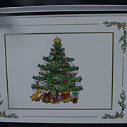 Set of Vintage Pimpernel Christmas Tree Placemats, Made in England