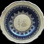 SALE Carlsbad Porcelain Plate, Cobalt and Gold