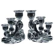 SALE PENDING Pair of Elegant Glass Three-Light Candelabra