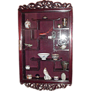SALE Vintage Asian Glass-Front  Display Cabinet with Carved Accents