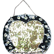 Vintage Black and Gold Sequin Evening Bag with Silver Tone Frame