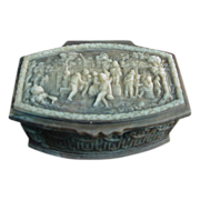 Incolay Stone Box, Village Scene on Lid