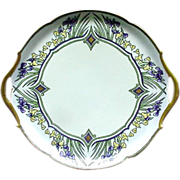 Limoges, France Porcelain Cake Plate, Deco Era Design, Signed