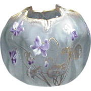 Mont Joye Cameo Glass Rose Bowl Decorated with Violets and Gold Accents