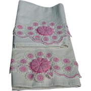 SALE PENDING Pair of Fancy Crocheted Pillow Cases with Pink and White Flowers