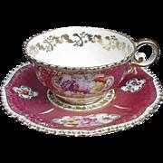 Davenport Cup and Saucer, Deep Pink, Floral Reserves, Gold Decoration