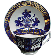 19th C. Imari Style Blue and Gold Painted Porcelain Cup and Saucer