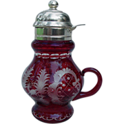 Ruby Bohemian Glass Syrup Pitcher