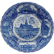Historical Staffordshire Blue Ware Plate, Independence Hall