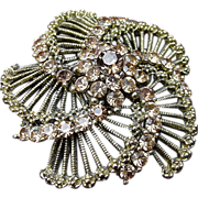 Vintage Gold Tone Brooch Studded with Topaz Colored Rhinestones