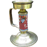 Cloisonne and Brass Candlestick