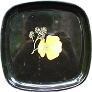 Square Couroc Vintage Tray, Black Background w Exotic Yellow Orange Flower and Seaweed