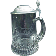 Vintage Crystal Glass Stein with Frosted & Engraved Hops Motif
