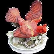 Vintage Bisque Porcelain Cardinal Figurine by Andrea, Japan