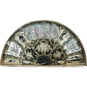 19th C. Framed  Fan, Japanned Sticks, Heavy Floral and Scrolling Decoration, Court Scenes