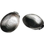 Pair of Pewter Oyster-shaped Accents