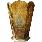 Florentine Hand-Painted Waste Basket, Wood with Gold Decoration